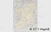 Shaded Relief Map of Fengcheng, semi-desaturated