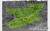 Satellite Panoramic Map of Fengcheng, desaturated