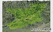 Satellite Panoramic Map of Fengcheng, semi-desaturated