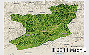 Satellite Panoramic Map of Fengcheng, shaded relief outside