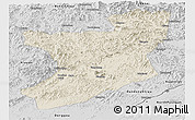 Shaded Relief Panoramic Map of Fengcheng, desaturated