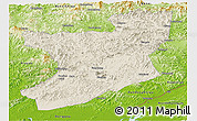 Shaded Relief Panoramic Map of Fengcheng, physical outside