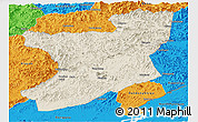 Shaded Relief Panoramic Map of Fengcheng, political outside