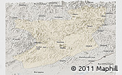 Shaded Relief Panoramic Map of Fengcheng, semi-desaturated