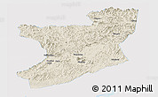 Shaded Relief Panoramic Map of Fengcheng, single color outside