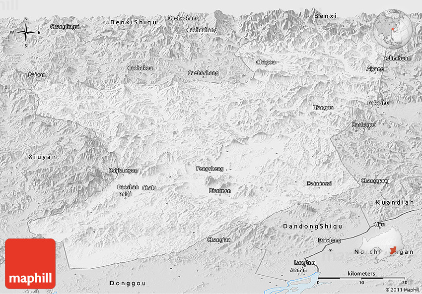 Silver Style Panoramic Map Of Fengcheng - Fengcheng map