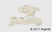Shaded Relief Panoramic Map of Fushun, cropped outside