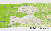 Shaded Relief Panoramic Map of Fushun, physical outside