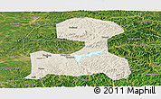 Shaded Relief Panoramic Map of Fushun, satellite outside