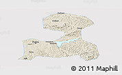 Shaded Relief Panoramic Map of Fushun, single color outside