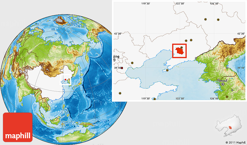 Physical Location Map Of Haicheng Highlighted Country - Haicheng map