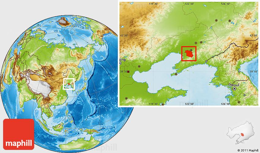 Physical Location Map Of Haicheng - Haicheng map