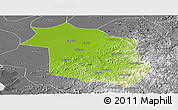 Physical Panoramic Map of Haicheng, desaturated