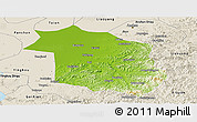 Physical Panoramic Map of Haicheng, shaded relief outside