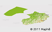 Physical Panoramic Map of Liaoyang, cropped outside