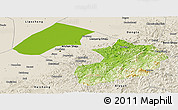 Physical Panoramic Map of Liaoyang, shaded relief outside