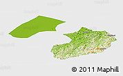Physical Panoramic Map of Liaoyang, single color outside