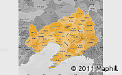 Political Shades Map of Liaoning, desaturated