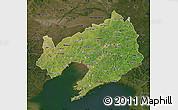 Satellite Map of Liaoning, darken