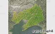 Satellite Map of Liaoning, semi-desaturated