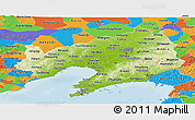 Physical Panoramic Map of Liaoning, political outside