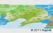 Physical Panoramic Map of Liaoning, political shades outside