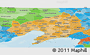 Political Shades Panoramic Map of Liaoning