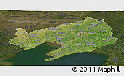 Satellite Panoramic Map of Liaoning, darken
