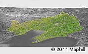 Satellite Panoramic Map of Liaoning, desaturated
