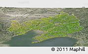 Satellite Panoramic Map of Liaoning, semi-desaturated