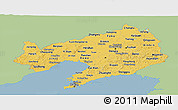 Savanna Style Panoramic Map of Liaoning, single color outside