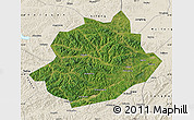 Satellite Map of Qingyuan, shaded relief outside