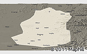 Shaded Relief Panoramic Map of Shenyang Shiqu, darken