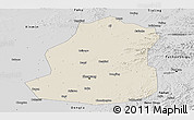 Shaded Relief Panoramic Map of Shenyang Shiqu, desaturated