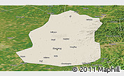 Shaded Relief Panoramic Map of Shenyang Shiqu, satellite outside
