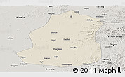 Shaded Relief Panoramic Map of Shenyang Shiqu, semi-desaturated