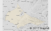 Shaded Relief Map of Tieling, desaturated