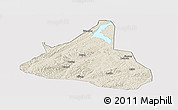 Shaded Relief Panoramic Map of Xifeng, cropped outside