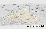 Shaded Relief Panoramic Map of Xifeng, desaturated