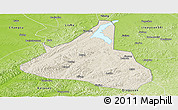 Shaded Relief Panoramic Map of Xifeng, physical outside
