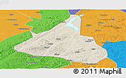 Shaded Relief Panoramic Map of Xifeng, political outside