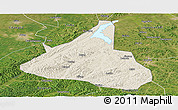 Shaded Relief Panoramic Map of Xifeng, satellite outside