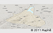 Shaded Relief Panoramic Map of Xifeng, semi-desaturated