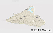 Shaded Relief Panoramic Map of Xifeng, single color outside