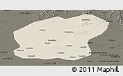 Shaded Relief Panoramic Map of Xinmin, darken