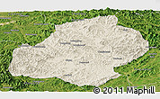 Shaded Relief Panoramic Map of Xiuyan, satellite outside