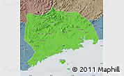 Political Map of Zhuanghe, semi-desaturated