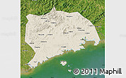 Shaded Relief Map of Zhuanghe, satellite outside
