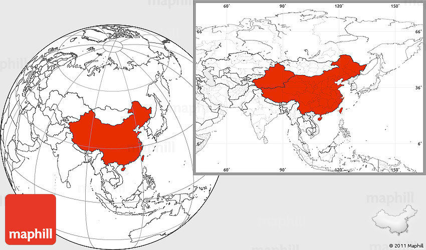 Blank Location Map of China