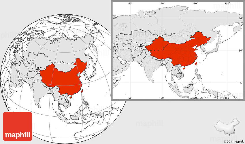 Blank location map of china highlighted continent 2d gumiabroncs Images